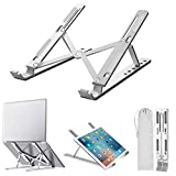 "EasyULT Soporte para Ordenador Portátil, Laptop Stand Aluminio Ventilado Plegable, Ergonomic Ajustables Soporte Portátil para 10-15.6"" Notebook/MacBook Pro/MacBook Air/iPad Laptop - Plata"