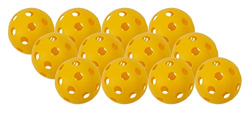 Champion Sports Yellow Plastic Softballs: Hollow Wiffle Balls for Sport Practice or Play - 12 Pack