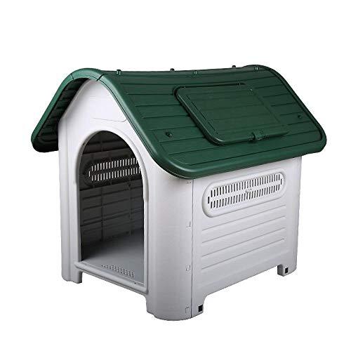 Camas para Perros Casetas para Perros Plástico Large XXL Dog House Medium Kennel Interior Al Aire Libre para Big Dog Pet Home Use Green