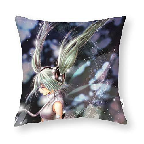 Hatsune Miku Funda de cojín abrazando funda de almohada para decoración del hogar hombres/mujeres/niños/niña sala de estar dormitorio sofá silla 45 x 45 cm funda de almohada
