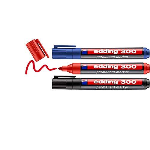 Edding 300 marcador permanente - negro, rojo, azul - 3 rotuladores- punta redonda 1.5-3 mm - resistente al agua,de secado rápido,rotuladores indelebles - para cartón,plástico,vidrio, madera, metal