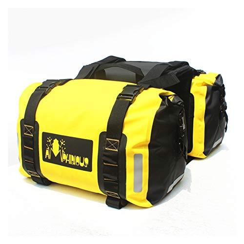 Baul Case para 50L / 60L Bolsa de sillín de Motocicleta Impermeable Casco de Moto Bolsas de Viaje Maleta alforjas Bolsa de Asiento Trasero para Motocicleta (Color : Amarillo)