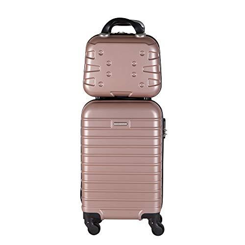 Kit mala bordo com frasqueira de mao em ABS - Roncalli Lottus (Rosê)