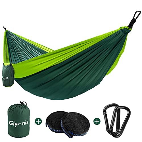 Glymnis Hamaca Ultraligera para Camping y Viaje de Nylon 300kg de Capacidad de Carga Ranspirable y Secado Rápido 275x140cm Kit de Hamaca de Tela 210T Verde Claro y Verde Oscuro