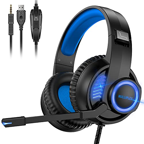 Gaming Headset Xbox Headset with Mic, 50mm Dual Driver Stereo Surround Sound, PS4 Gaming Headset with LED Light Noise Cancelling Over Ear Headphones Compatible with PC PS4 PS5 Xbox One Mac(Blue)