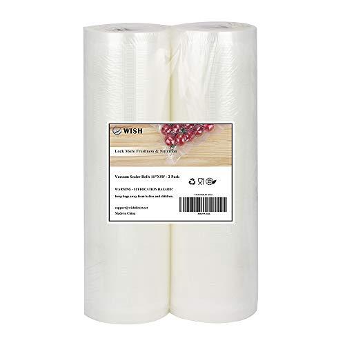 Best Price Vacuum Sealer Bags Rolls (2-Pack), WISH 11 Inch X 50 Feet Heavy Duty Embossed Food Storag...