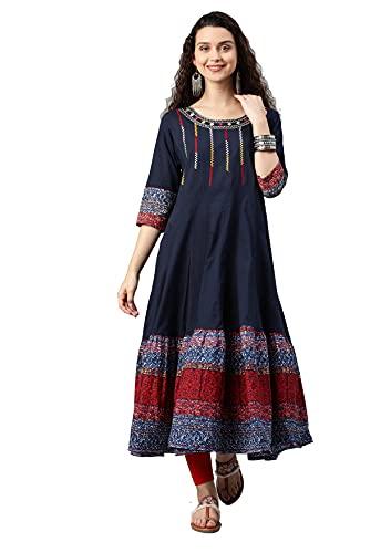 Yash Gallery Women's Cotton Embroidered Anarkali Kurta (Blue)