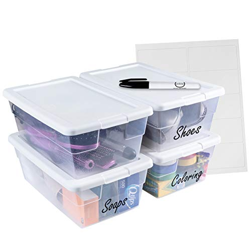 Sterilite 6 Quart Stackable Plastic Storage Bins with Lids 4 Pack  Bundled with Labels and Marker