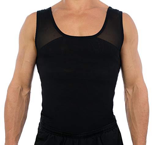 Esteem Apparel Original Men's Chest Compression Shirt to Hide Gynecomastia Moobs (Black, Medium)