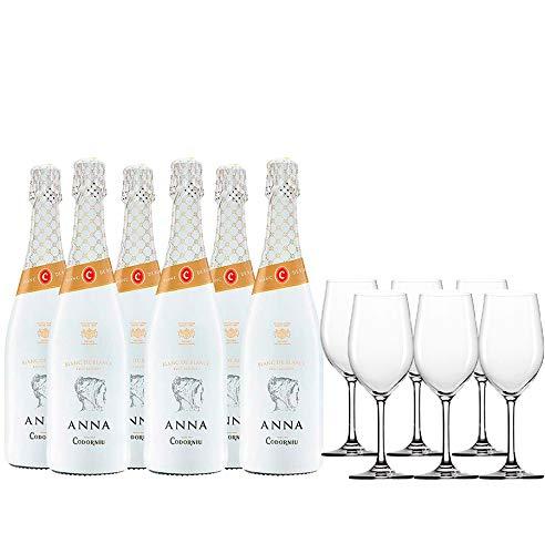 Anna Codorniu Pack Cava Brut - 6 botellas de Anna de Codorníu Blanc de Blancs Reserva de 75cl + 6 copas - 4500 ml
