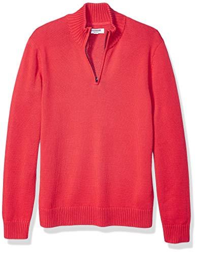 Amazon Brand - Goodthreads Men's Soft Cotton Quarter Zip Sweater, Red Large