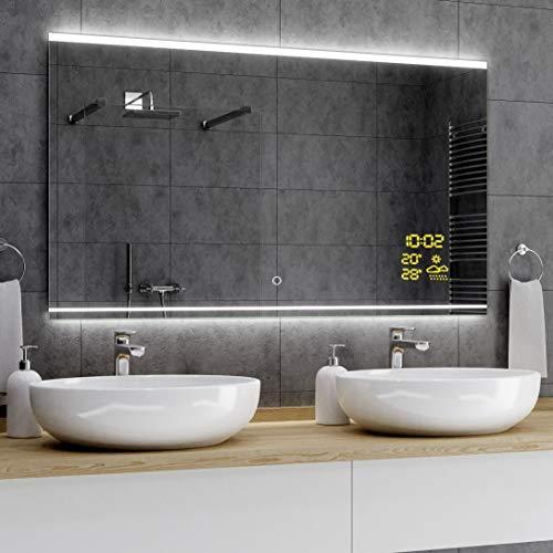 Alasta® Premium Moderne en Verlichte Badkamerspiegel - 60x100 cm - Model Seúl - Spiegel met Aanraaklichtschakelaar en Weerstation P1