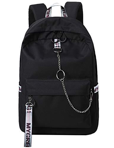 Mygreen Backpack Rucksack Schulrucksack rucksäcke mit Laptopfach für Camping Outdoor Sport Schwarz&Grau