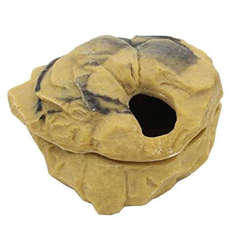XiangZe Hiding Shelter, Sandstone oder Eiablage, Wetbox Sandstein, chlangenhöhle Reptilien Höhle Terrarium Dekoration Zubehör, Höhle für Reptilien und Amphibien, Beige-Gelb, L, Groß