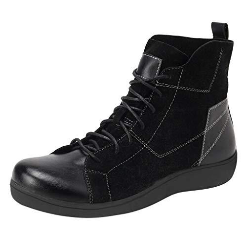 TWISFER Damen Stiefeletten Wildleder Spleißen Schnüren rutschfeste Knöchel Freizeitstiefel Winter Leder Flache Ankle Boots Kurze Stiefel Schwarze Bequeme Schuhe