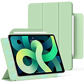 Bokeer Magnetic Case for iPad Pro 11 3rd Generation 2021 / iPad Air 4 / iPad Pro 11 2020 & 2018 Support Auto Sleep/Wake & Apple Pencil Charging Trifold Stand Magnetic Cover  Matcha Green