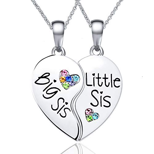 CheersLife Sister Necklace for 2 Big Sis Little Sis Heart Pendant Necklace Set for Girls Women Matching Jewellery for BFF Friends
