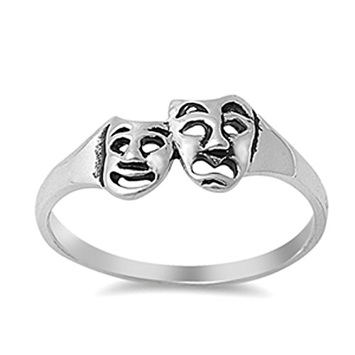 Tragedy Mask Drama Comedy Theatre Ring New .925 Sterling Silver Band Size 4