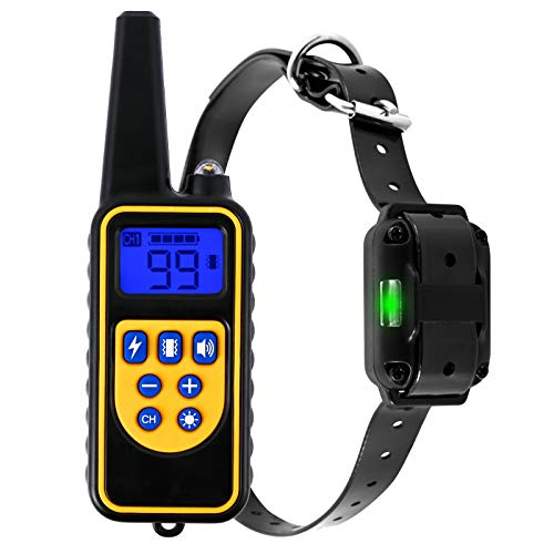 Dog Training Collar,Dog Shock Collar with Remote , Dog Training Collar w/3 Modes Beep Vibration and 0~99 Shock Levels,IP67Waterproof, 1600 ft Remote Trainer Range Collar for Small Medium Large Dogs.