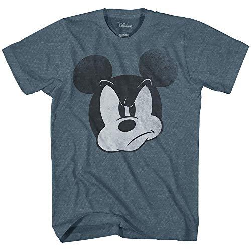 Mad Mickey Mouse Graphic Tee Classic Vintage Disneyland World Mens Adult T-Shirt Apparel (X-Large, Indigo Heather)