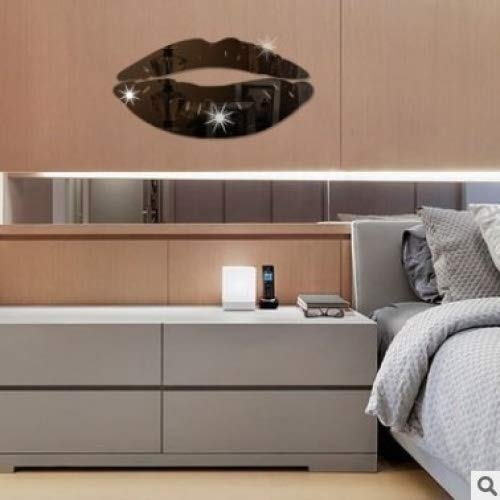 Revesun Black Acrylic Mirror Wall Stickers Lips Bedroom Background DIY Decorative Mirror -