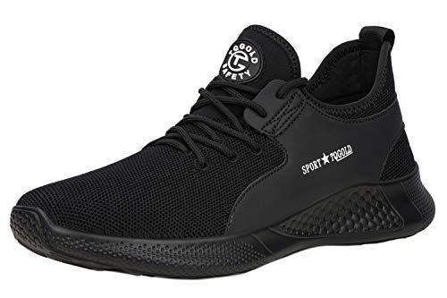 [tqgold] 安全靴 スニーカー 作業靴 軽量 あんぜん靴 メンズ レディース 通気性 鋼先芯 ケブラーミッドソール 耐摩耗 防刺 耐滑 ワークシューズ セーフティーシューズ (ブラック 26.0cm)