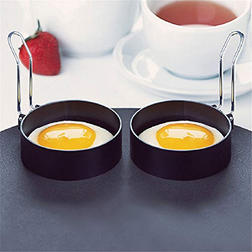 SKRRDCY 1PCS Non-Stick Egg Rings for Fried and Poached Eggs, Crumpets, Mini Pancakes, Omelettes and Yorkshire Puddings, 8.5cm, Black