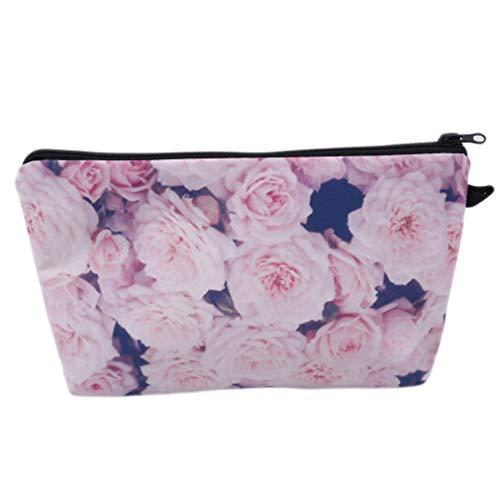 Hengxing Rose Fleur Trousse À Maquillage Polyester Zipper Imprimé Trousse De Toilette Cosmétique Bijoux Lavage Pochette