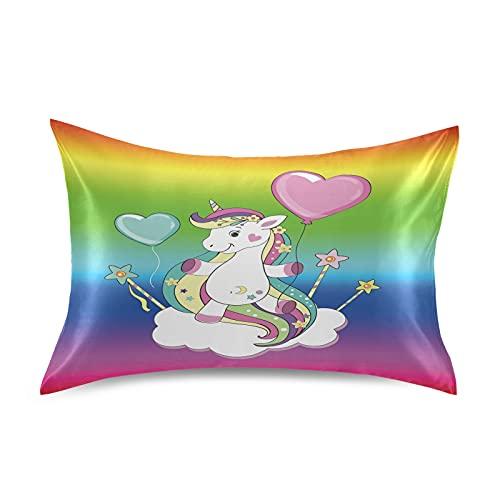 Lindo Bebé Unicornio Arcoíris Caballo Fundas Almohada satén Sedoso, Juego de Protector Pillowcase Cierre de sobre 1 Piezas sin Cremallera estándar/Reina/Rey