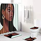 Absir - Juego de 4 piezas para mujer, diseño antideslizante y cortina de ducha, juego de cuatro piezas C1223-9
