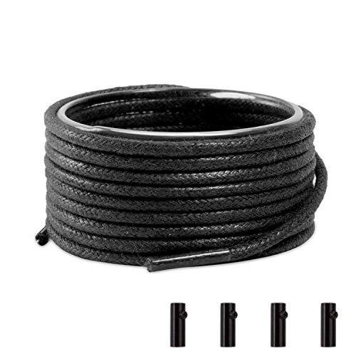 Shoemate Waxed Round Dress Shoelaces for Boots and Dress Shoes Men & Women with 4 Shoestring Aglets, Black, 42'(107cm) 4-Hei