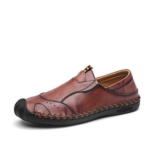 JINWEI Mocasines de Negocios clásicos para Hombres Zapatos Casuales Slip-On Sticking Plano Anti-patín Collision Collision Evitación Toe Perforado (Color : Reddish Brown, Size : 42 EU)