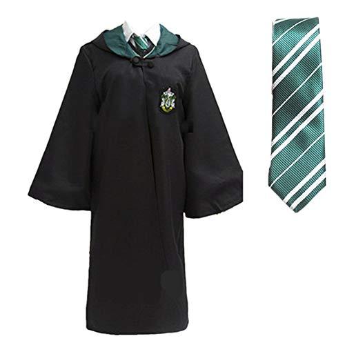 Super T Uniformi Costume Cosplay, Mantello di Mantello Magica di Halloween con Cravatta (Verde, L)