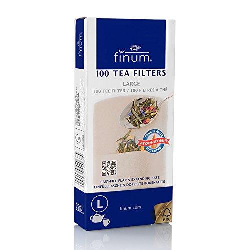 Finum Disposable Paper Tea Filter Bags for Loose Tea, Brown, Large, 100 Count