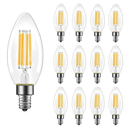 B11 E12 Candelabra LED Bulbs 60 Watt Equivalent, Dimmable LED Chandelier Light Bulbs, Soft White 2700K, 550LM, Decorative Candle Base Filament Bulb for Ceiling Fan, UL Listed, 12 Pack