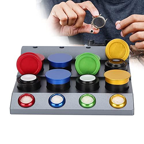 Kit de aceite de reloj, 8 orificios, herramienta de inmersión de aceite para reloj, plato de engrasador de reloj, accesorio de pieza de reparación de reloj profesional, juego de engrasador de reloj de