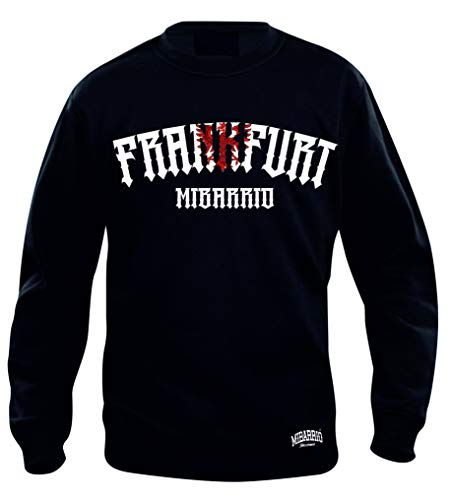 Mi Barrio Frankfurt Adler 1 Sweatshirt, grau, schwarz, weiß, rot (XL, Schwarz)