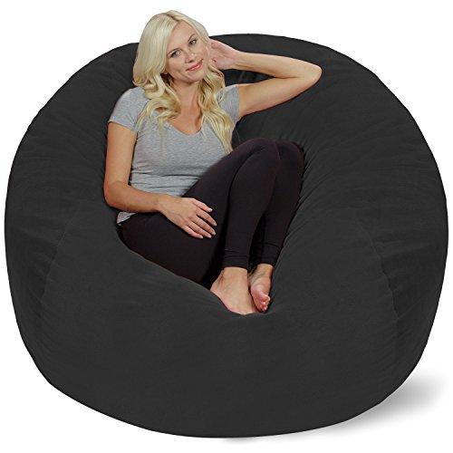 Chill Sack Bean Bag Chair: Giant 5' Memory Foam Furniture Bean Bag - Big Sofa with Soft Micro Fiber Cover - Dark Grey Pebble
