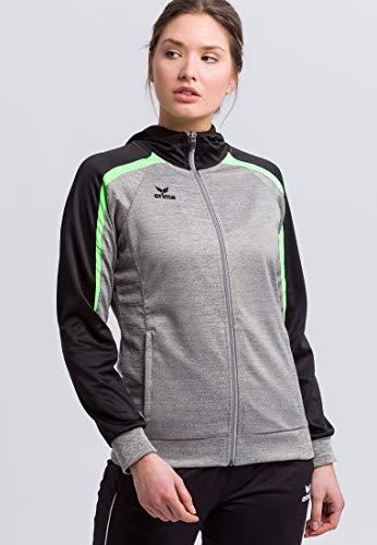 ERIMA Damen Jacke Liga 2.0 Trainingsjacke mit Kapuze, grau melange/schwarz/green gecko, 44, 1071857