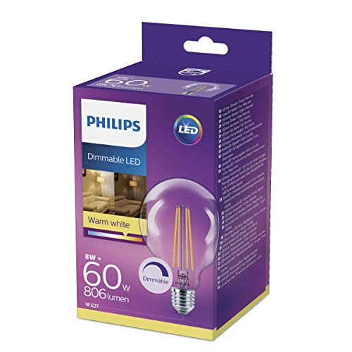 Philips Lighting Bombilla  LED Globo de filamento casquillo E27, 8 W e
