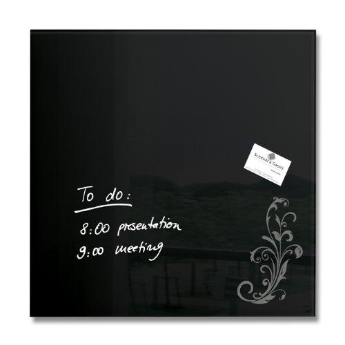 Sigel GL115 Glas-Magnetboard / Magnettafel artverum, schwarz mit floralem Ornament 48 x 48 cm - weitere Farben auswählbar