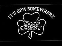 Bud Light Shamrock It's 5Pm Somewhere LED看板 ネオンサイン ライト 電飾 広告用標識 W60cm x H40cm ホワイト