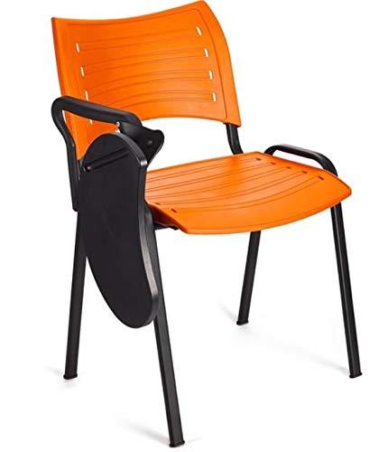 4x Silla de colectividades con pala, PVC, ideal para academias, autoescuelas. Apilables. Color naranja