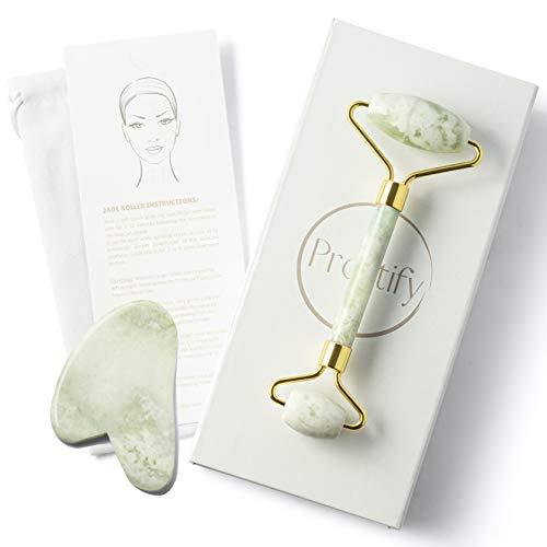 Jade Roller and Gua Sha Set – Authentic Jade Face Roller Massager and Jade Gua Sha Massage Tool Set
