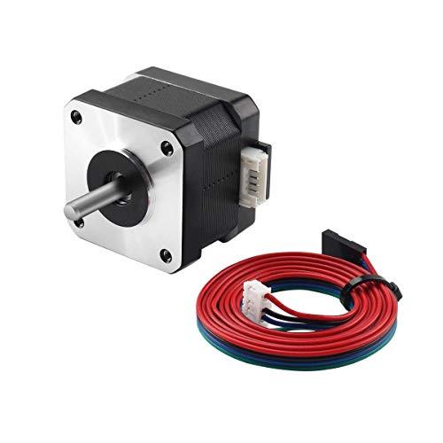 Toaiot - Motore passo-passo Nema 17, motore passo-passo 42-40, 1,5 A, 2 fasi 4 fili 1,8 gradi, per estrusore stampante 3D Reprap Makerbot CNC, CR-10/10S/Ender 3, con cavo da 39,3 pollici