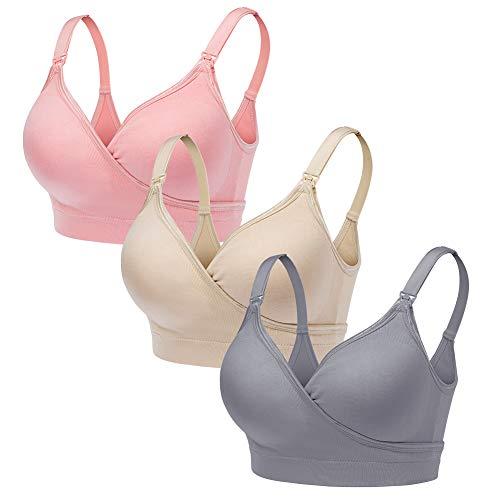 CLUCI 3 Pack Women Nursing Maternity Bra Full Bust Seamless Sleeping Wireless Bralette for Breastfeeding XL