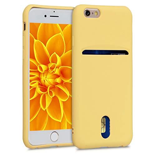 kwmobile Funda Compatible con Apple iPhone 6 / 6S - Carcasa de Silicona con Tarjetero y Acabado de Goma - Amarillo