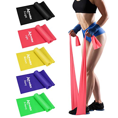 Allvodes Exercise Bands for Working Out, Resistance Bands Set with 5 Resistance Levels, Skin-Friendly Elastic Bands with Carrying Pouch for Home Workout, Strength Training, Yoga, Pilates (Multicolor)