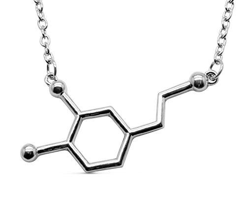 Serebra Jewelry Dopamin Molekül Anhänger Halskette mit Silber Gold oder Rosegold Tönung by