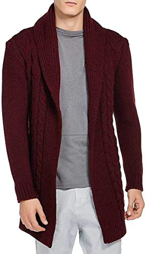 The Project Garments Men's Shawl Collar Wool Blend Belted Cardigan Burgundy (Large)